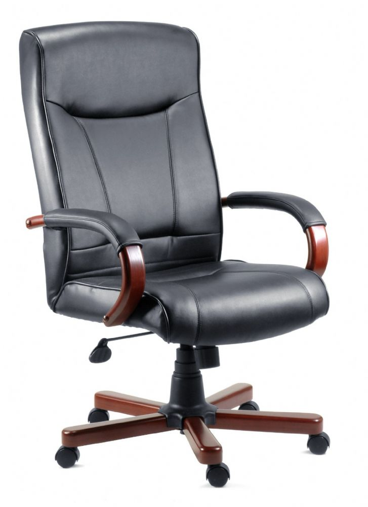 TEKNIK KINGSTON Executive Chair In Black Leather with Mahogany finish